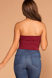Burgundy Tube Crop Top