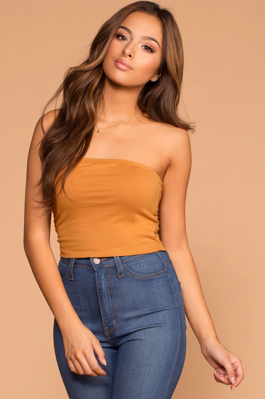 Alera Tube Crop Top - Mustard | Shop Priceless