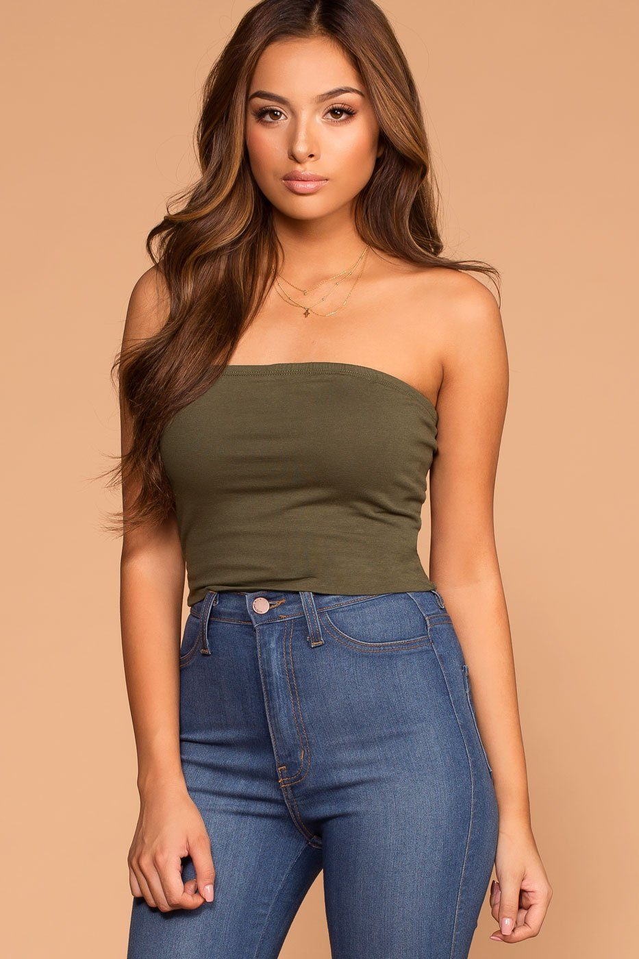 Alera Tube Crop Top - True Olive | Active Basic