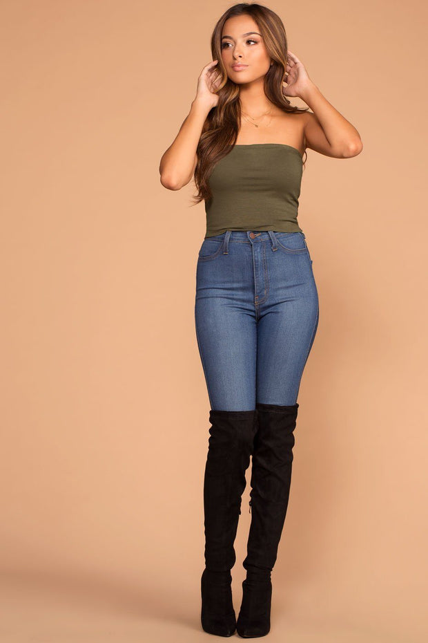True Olive Tube Crop Top
