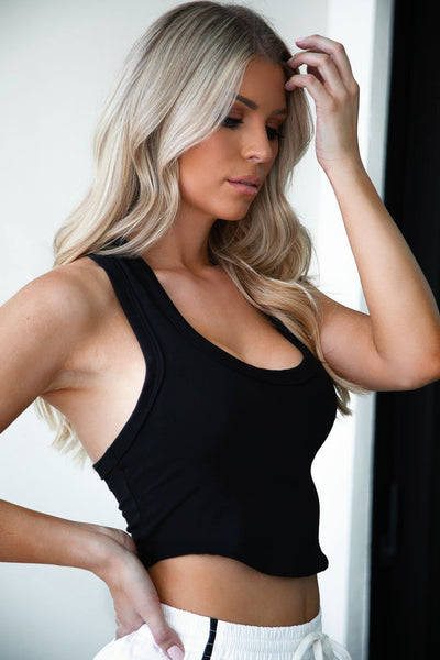 Racerback Black T-Shirt Crop Top
