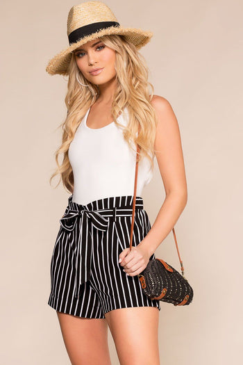 Priceless | Black | Stripe Shorts | High Waisted Shorts | Womens