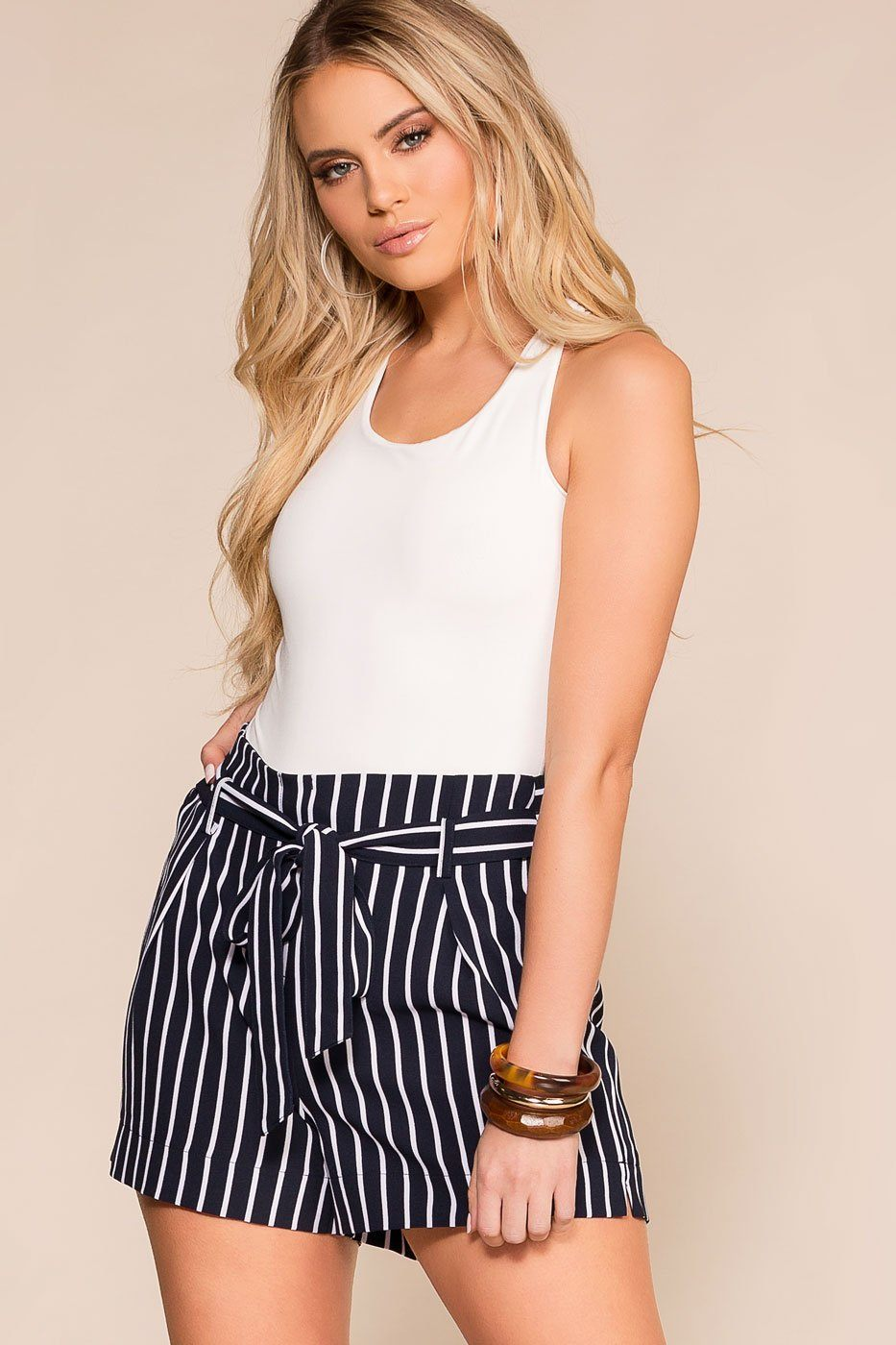 Alex West Navy Striped High Waisted Shorts | Mosaic