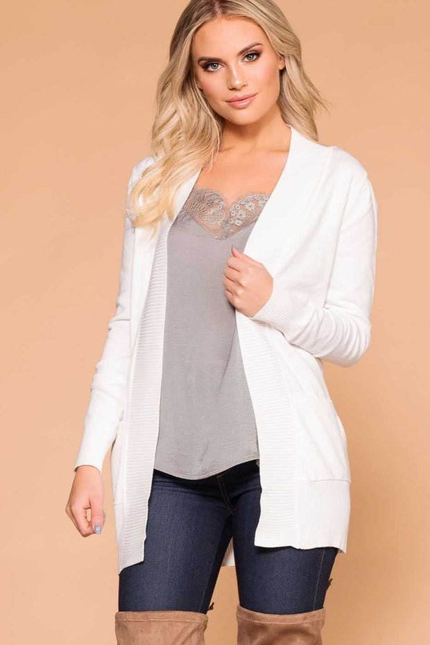 White Stretchy and Soft Knit Cardigan
