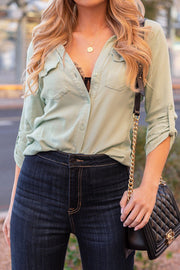 Sage Button-Down Top