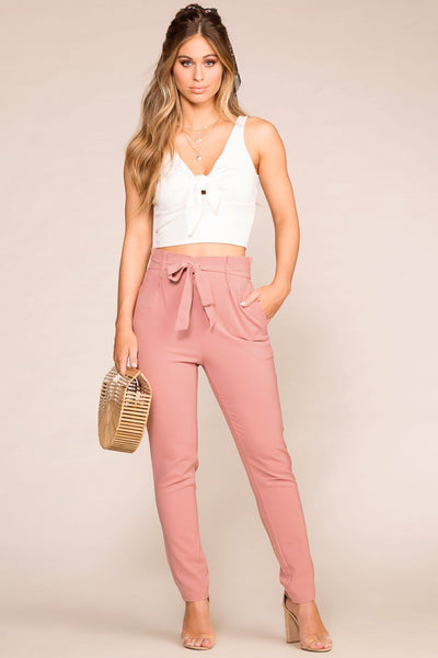 Mauve High Waisted Paperbag Pants