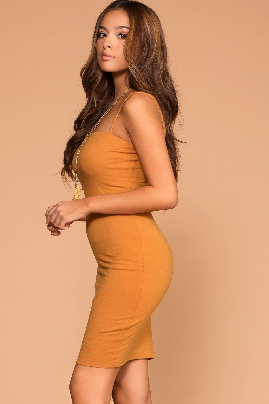 Alisa Mustard Bodycon Dress | Active Basic