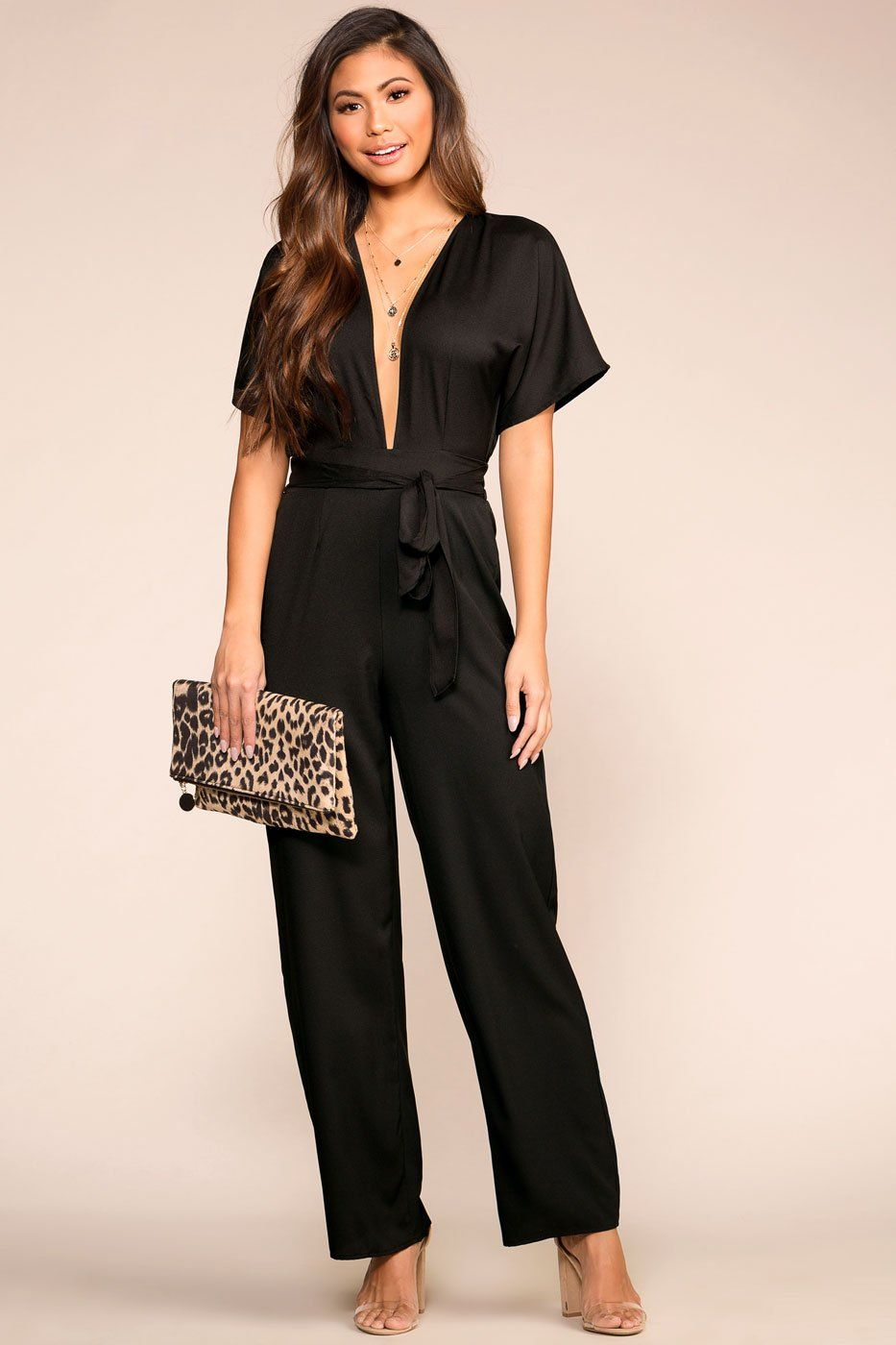 Priceless | Black | Jumpsuit | V-neck | Womens