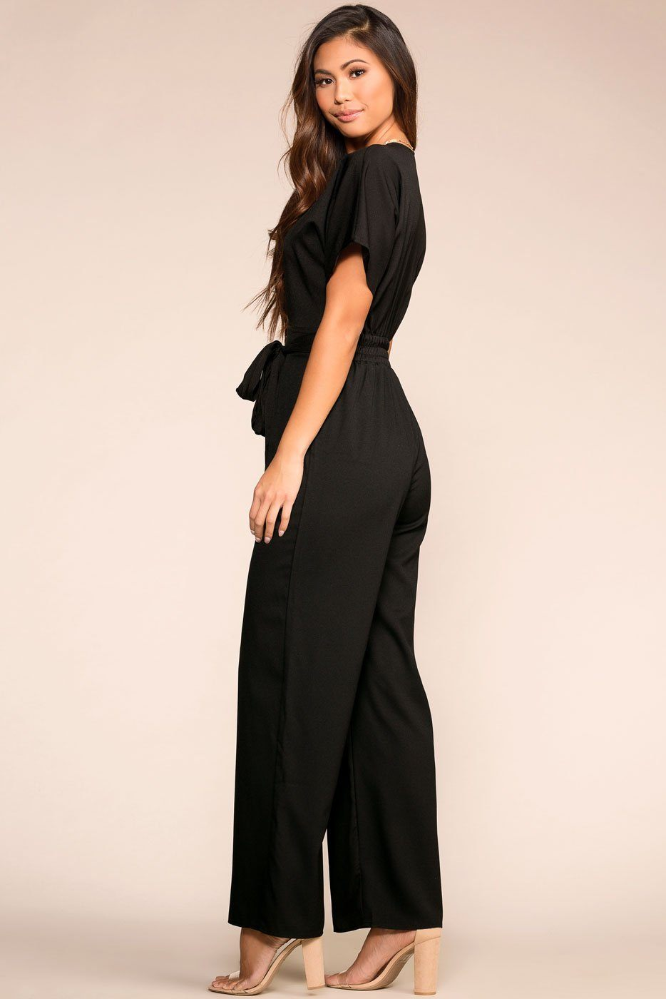 Black Jumpsuit with Deep V-Neck