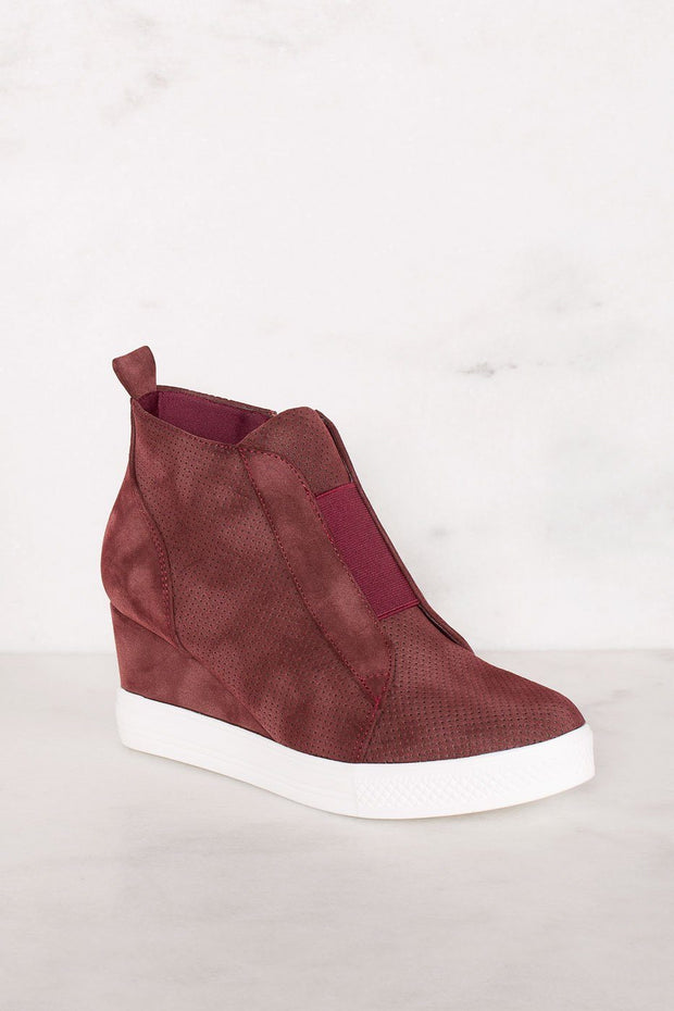 Priceless | Burgundy | Slip On Sneaker | Wedge Sneaker | Shoes