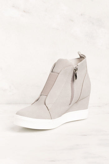 All Day Grey Slip On Wedge Sneaker | Ccocci