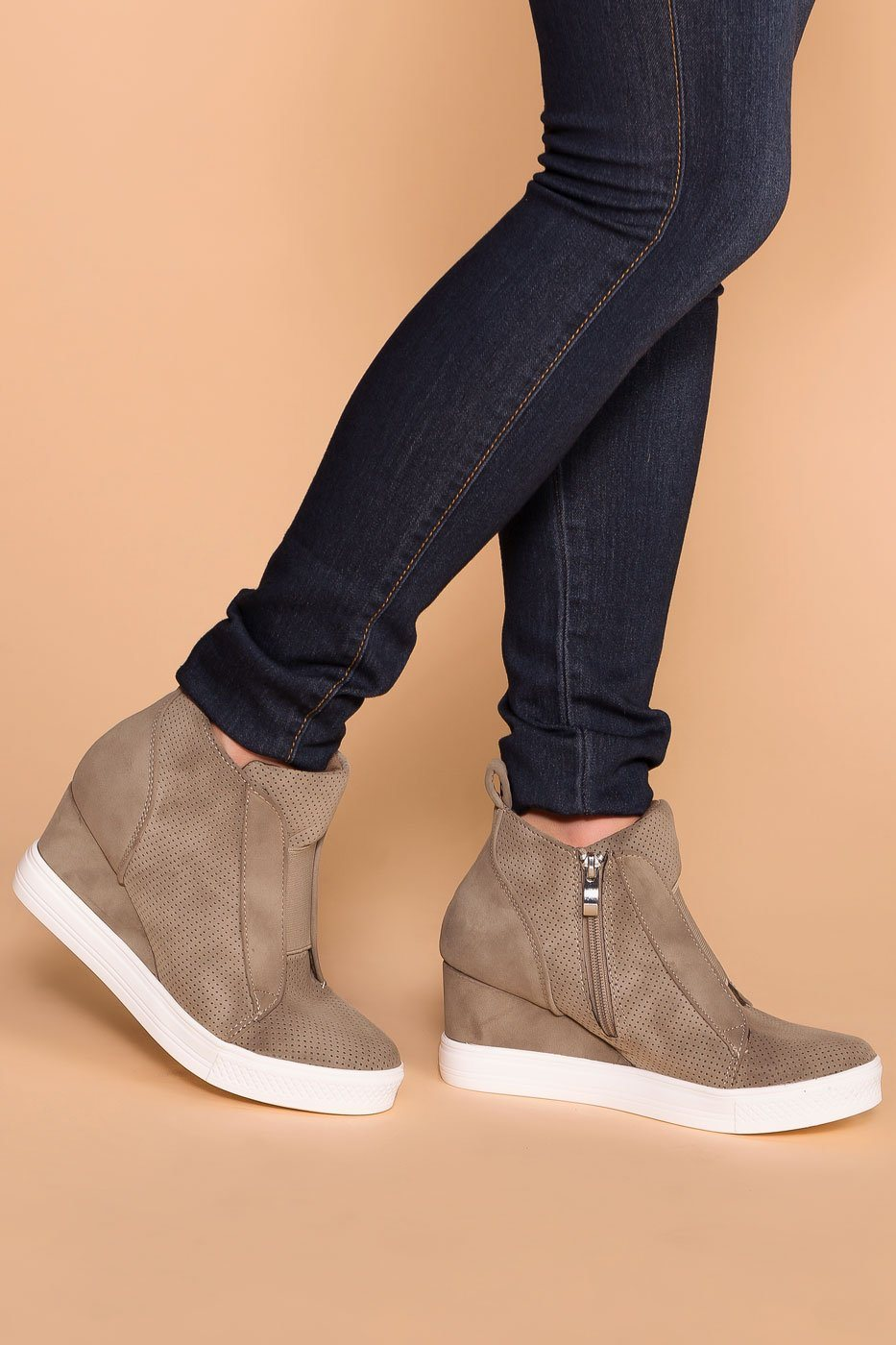 Priceless | Taupe | Slip On Sneaker | Wedge Sneaker | Shoes