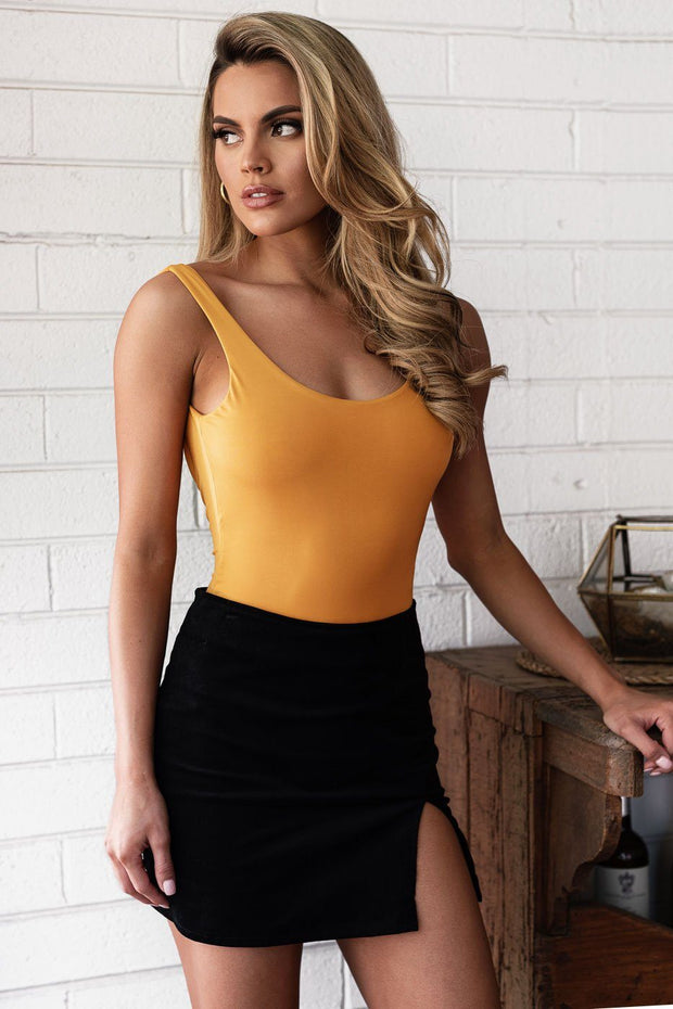 Mustard Open Back Bodysuit