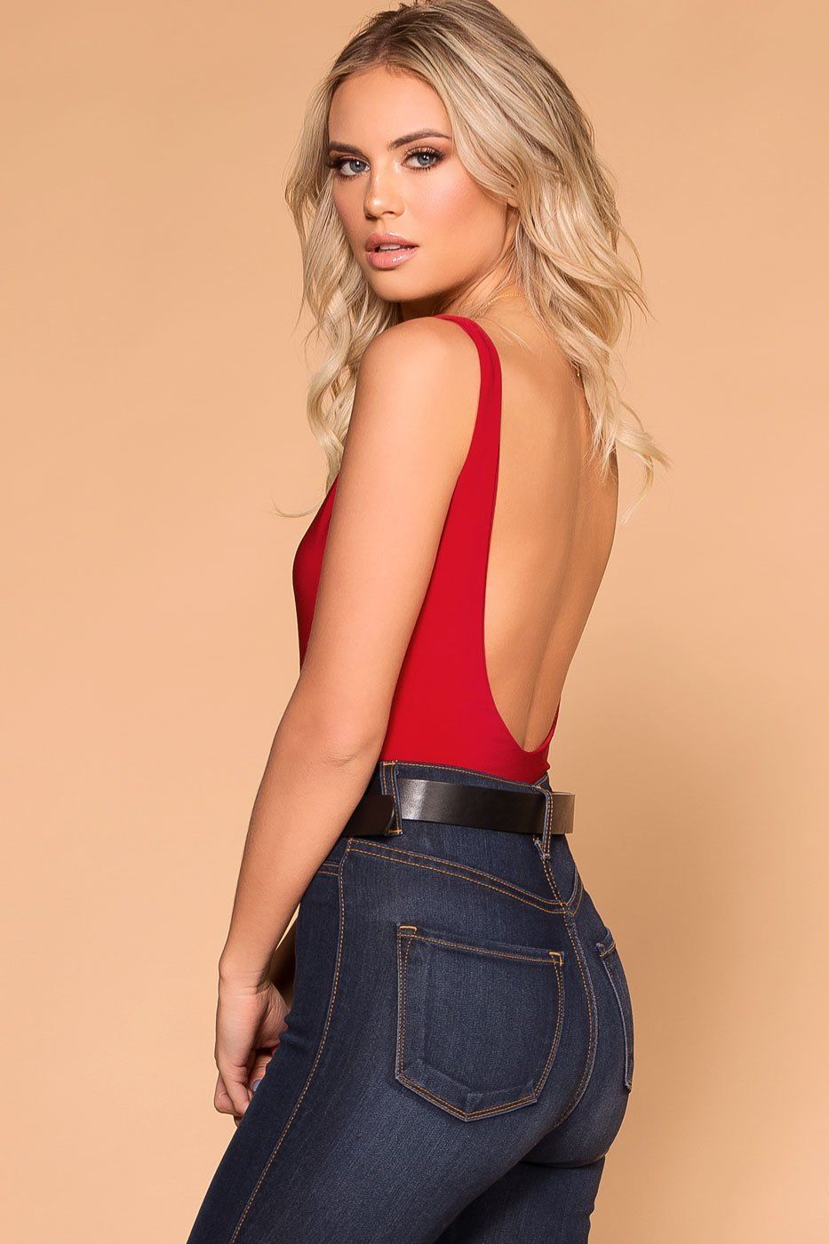 Priceless | Red | Open-Back Bodysuit | Womens