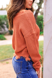 Salmon Distressed Knit Sweater