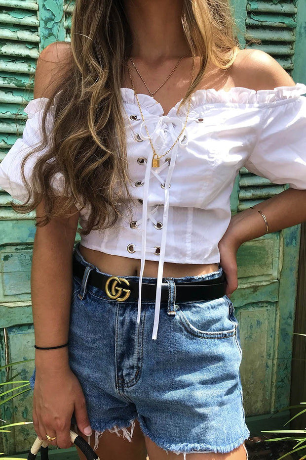 Mia Off The Shoulder Crop Top - White | Iris