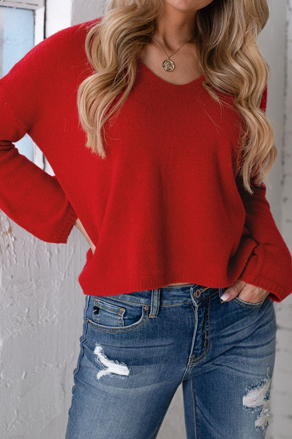 Red V-Neck Sweater