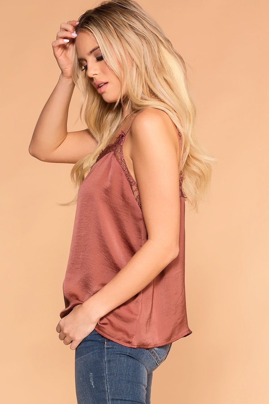 Priceless | Brick | Satin Lace Cami | Cami Top | Womens