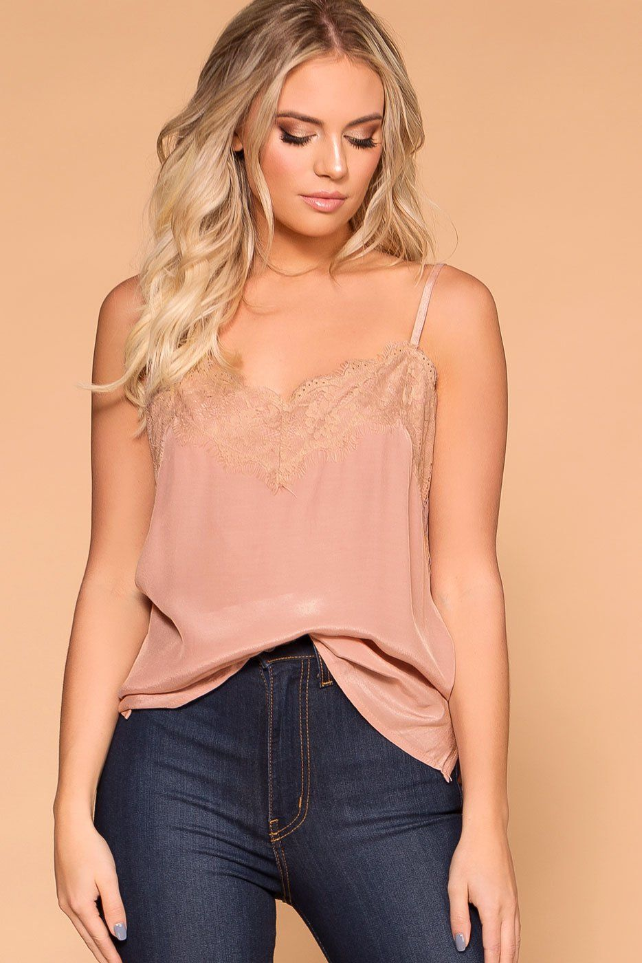 Priceless | Mauve | Satin Lace Cami | Cami Top | Womens