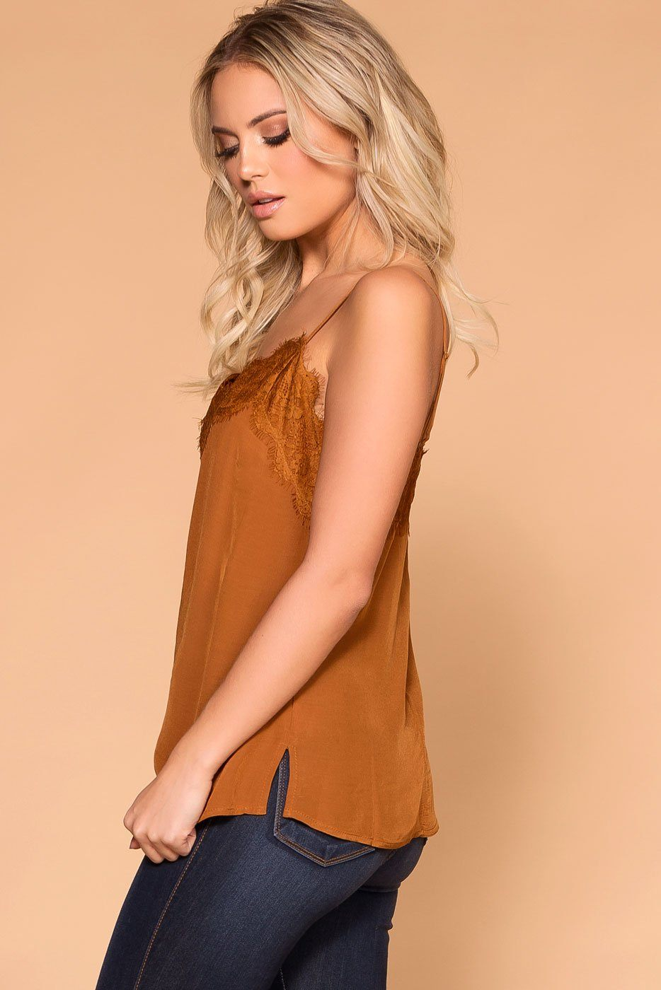 Priceless | Rust | Satin Lace Cami | Cami Top | Womens