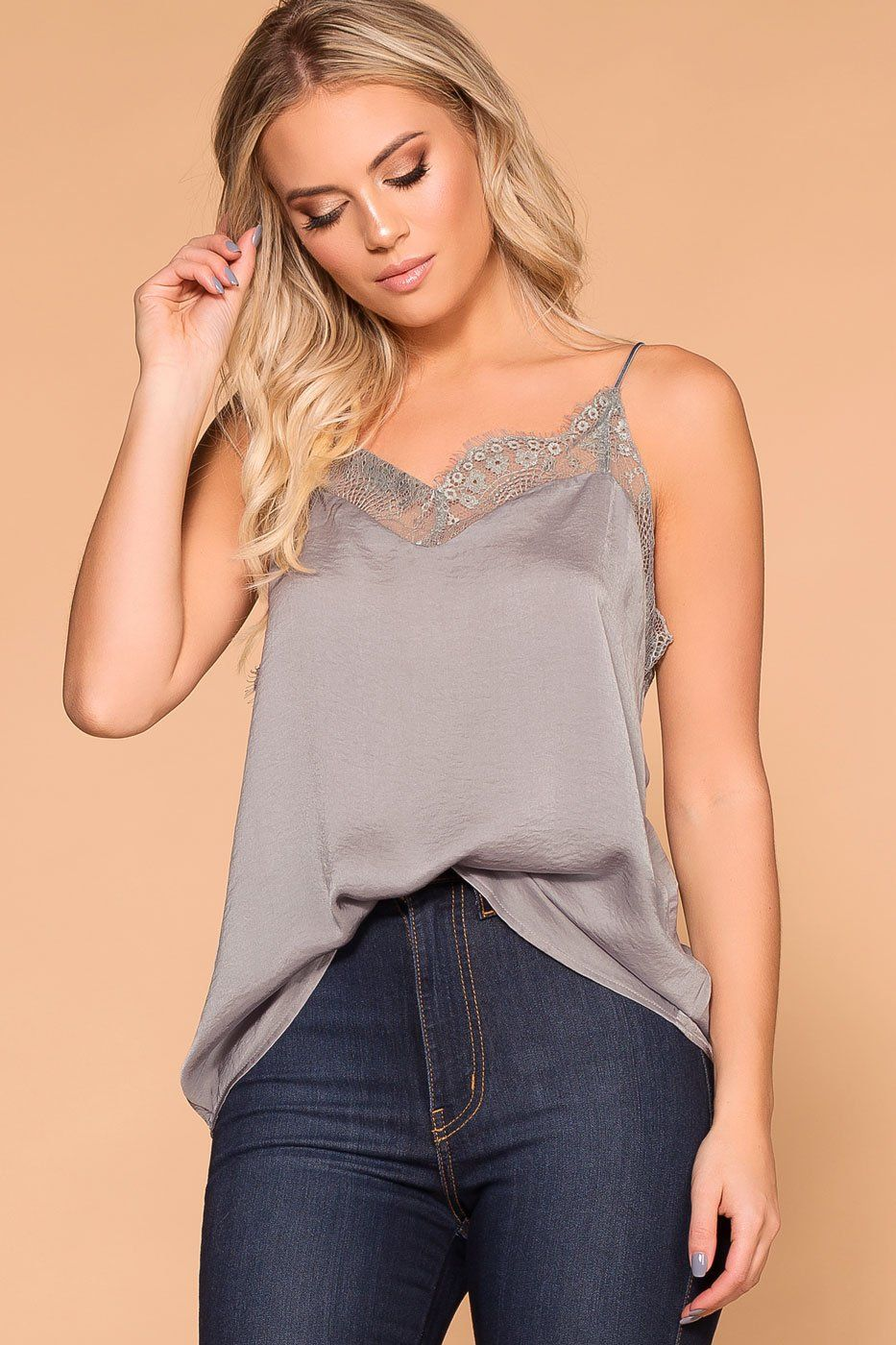 Dreamy Silver Satin Lace Cami