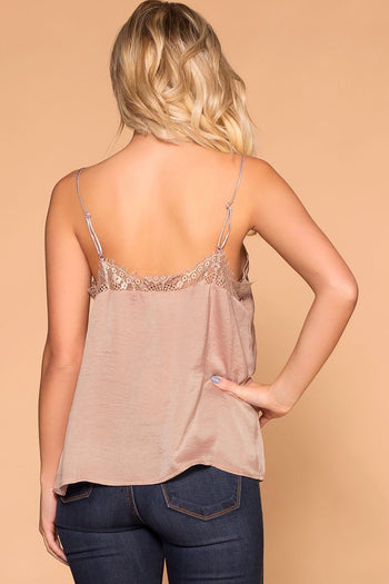Dreamy Taupe Satin Lace Cami | Shop Priceless