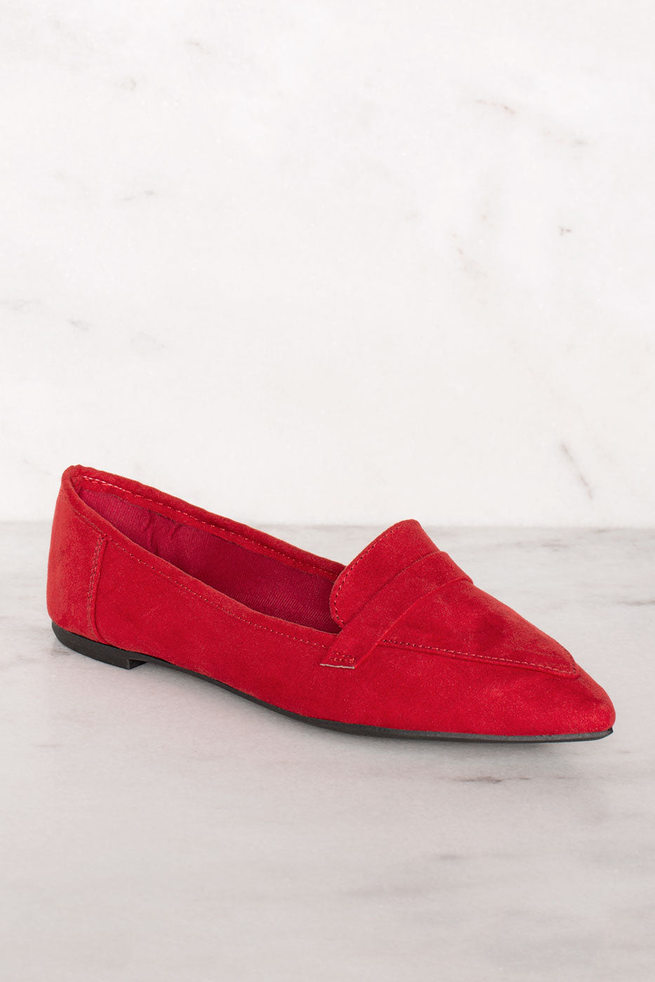 Amélie Pointed Loafers - Red