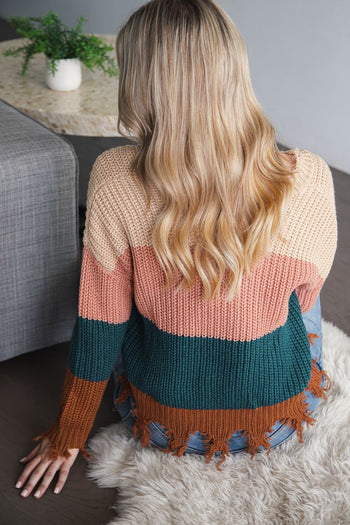 Andie Colorblock Distressed Knit Sweater