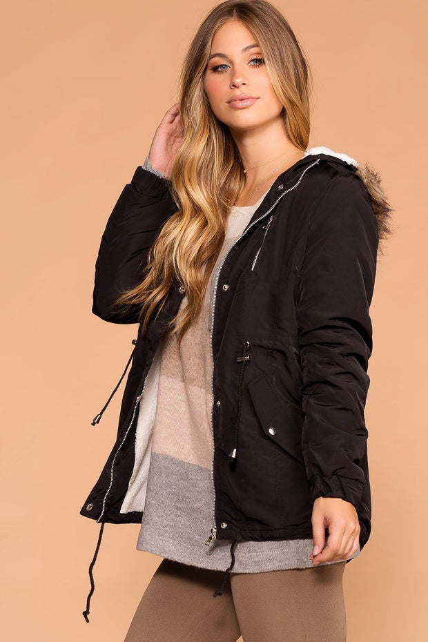 Priceless | Black Hooded Drawstring Utility Jacket | Women's
