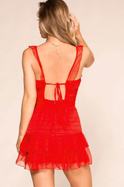 Red Ruffle Wrap Dress
