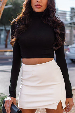 Born Free Black Bell Sleeve Crop Top