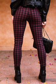 Burgundy Plaid Pants