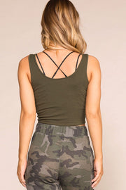 Casual Olive Crop Top