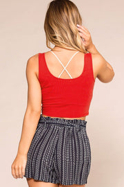 Casual Red Crop Top