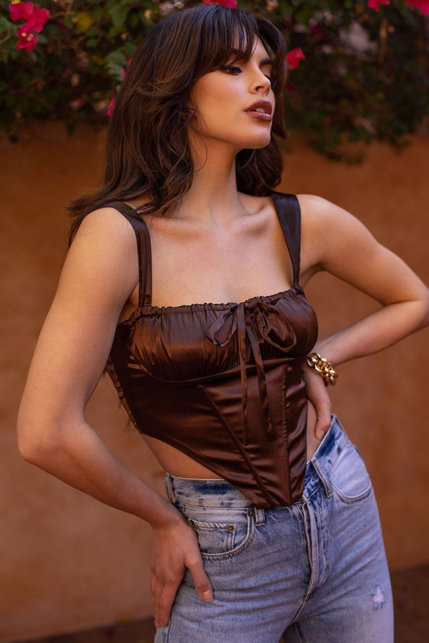 Chocolate Satin Corset Top