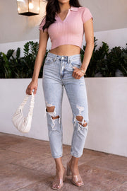 Mauve Ribbed Crop Top