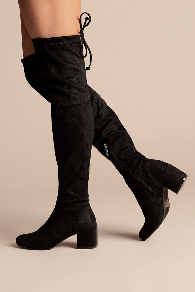 Aria Black Thigh High Block Heel Boots