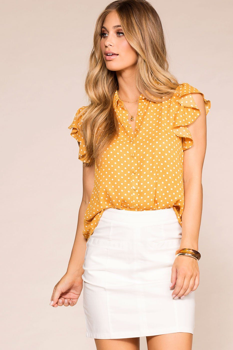 Arianna Mustard Dotted Ruffle Blouse | Shop Priceless
