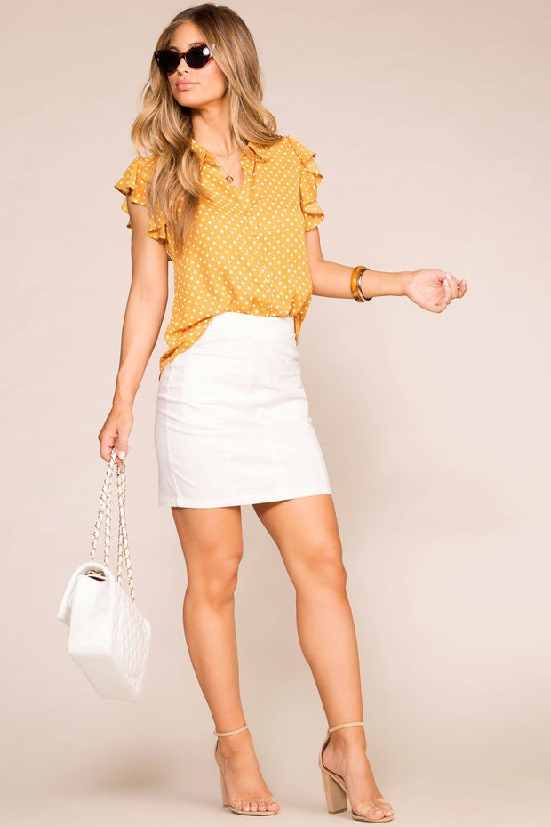 Mustard Dotted Ruffle Button Blouse