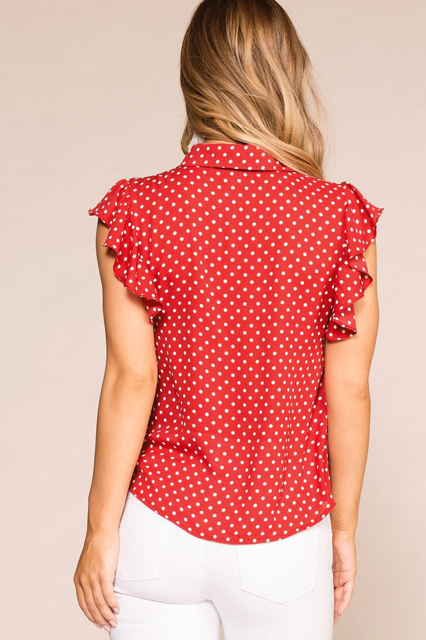 Red Dotted Ruffle Button Blouse