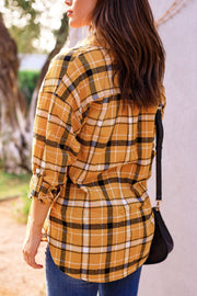 Mustard Plaid Button Up Top