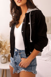 Black Layered Denim Hoodie Jacket