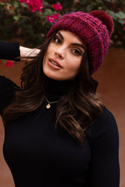 Asha Burgundy Cable Knit Beanie