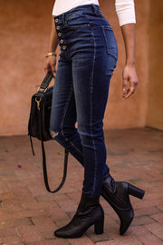 Athena Dark Wash High Waisted Skinny Jeans