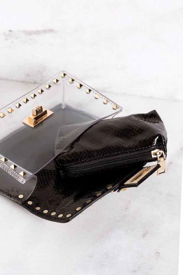 Audrina Black Clear Purse