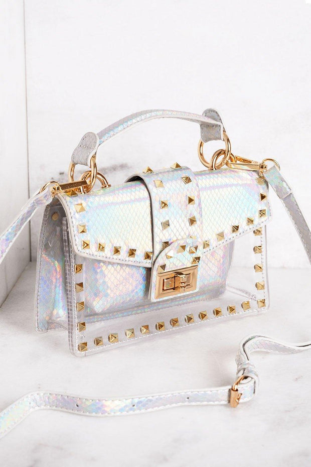 Audrina Iridescent White Clear Purse