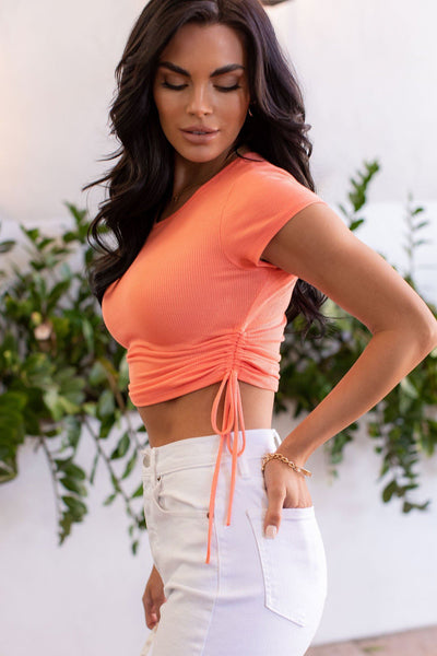 Coral Ruched Drawstring Crop Top