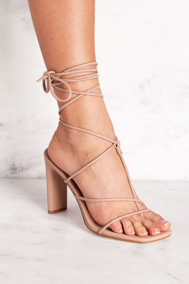 Beige Lace-Up Heels