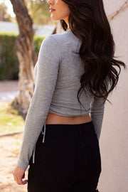 Heather Grey Ruched Long Sleeve Crop Top