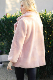Mauve Plush Faux Fur Coat